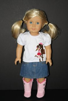 Cowgirl Skirt and Horse Shirt Outfit for American Girl Doll $15.00