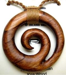NEW Genuine Koa Wood Hawaiian Jewelry Spiral Pendant Choker/Necklace  # 45023