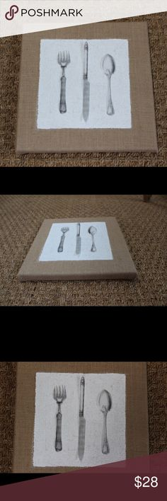 """Burlap wrapped canvas wall art Burlap wrapped canvas with hand-painted white center square. Measures 10"""" x 10"""". Other"""