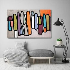 Vibrant Colorful Mid Century Modern Gray Orange Canvas Art Print, Mid Century Modern Canvas Art Print Up to 72 by Iris - Decoration For Home Modern Canvas Art, Canvas Art Prints, Painting Prints, Painting Walls, Orange Canvas Art, Cuadros Diy, Art Sur Toile, Mid Century Wall Art, Orange Home Decor