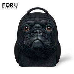 FORUDESIGNS Kids Backpack 3D Pug Dog Animal Mini Back Pack For Children Boys Kindergarten Baby Student Schoolbag Mochila Infatil