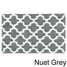 Jessica Simpson Quatrefoil Cotton Bath Rug (Nuet Grey), Size 21 x 34