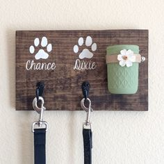 A personal favorite from my Etsy shop https://www.etsy.com/listing/249008594/dog-leash-holderdog-treat-holderdog