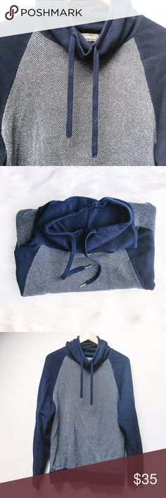 Men's // Jacquared Funnel Neck Sweater Men's Collection! This sweater features a blue and white marked body with a navy blue funnel neck and sleeves with matching drawstrings. Very slight pilling present; in very good used condition.  ✅Offers On Items Over $10 ✅Bundle & Save 🚫Trades 🚫Off-Posh 🚫Modeling  💞Shop with ease; I'm a Suggested User.💞 Express Sweaters