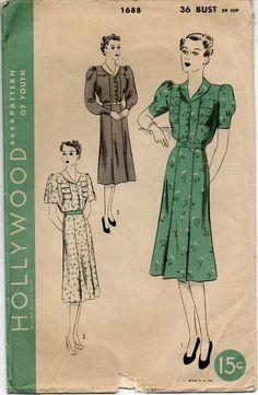 1930s Dress Pattern  Triple Pocket & Puff by VivsVintageSewShop
