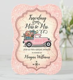 This travel themed bridal shower vintage truck pink glitter Invitation card is a great idea for a destination wedding to Invite your bridal shower guests. The design features a retro pink pickup truck filled with furniture on the background of a world map bordered with a fancy frame and faux pink glitter. The back of the card has all of your wedding shower details and you can edit and personalize it. Glitter Invitations, Wedding Invitation Cards, Zazzle Invitations, Bridal Shower Invitations, Invite, Party Invitations, Bachelorette Invitations, Travel Bridal Showers, Vintage Travel Wedding