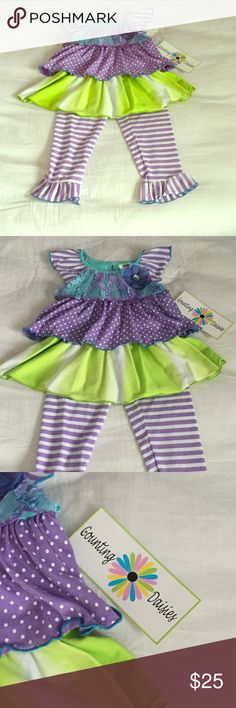 🌸NWT Counting Daisies Outfit🌸 Gorgeous spring outfit that includes flutter sleeved tunic top with amazing detailing & coordinating purple & white striped yoga leggings. NWT! Size 2T. Smoke FREE home as always! 💕 PRICE IS FIRM, no offers please! Counting Daisies Matching Sets