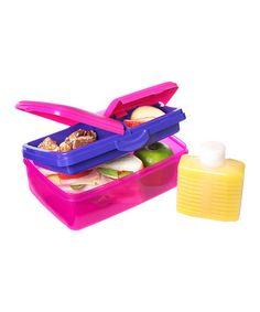 Pink 50-Oz. Slimline Quaddie Lunch Box & Water Bottle by Sistema on #zulily
