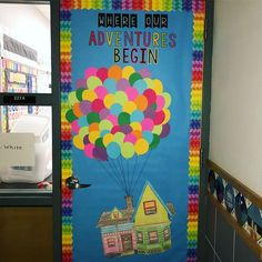 21 Welcoming Classroom Door Ideas for Back-to-School : A positive classroom environment is an important aspect of student achievement. Start it at the door with these creative ideas! Welcome Door Classroom, Superhero Classroom Door, Disney Classroom, Classroom Board, Up Bulletin Board, Kindergarten Classroom Decor, Welcome To Kindergarten, Classroom Themes, Creative Classroom Ideas
