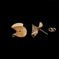 Vintage Tiffany & Co. Gold Fluted Earrings, circa 1950s-1960s