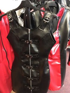 Misfitz black leather look zip and buckle dress size 18 goth punk rock biker #MISFITZ #buckledress #Party
