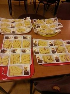 Cake'fries' with whipped cream and jam to dip them in! Great idea, and nice and messy for the toddlers!