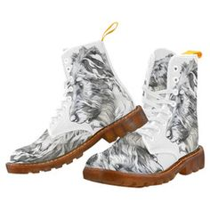 Lily in the Light Martin boots for Women.  Stunning Wolfhound sketch on these one-of-a-kind boots.