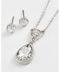 439784 Tear Drop Pendant / Necklace & Post Earring Set