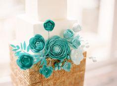 Cakes, gold, cake, Modern, Modern Wedding Cakes, Square Wedding Cakes, Square, Teal, Turquoise, Contemporary, Aude gilles