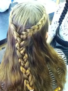 Six strand braid with ribbon and French fishtail combination
