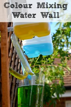 A colour mixing water wall, I noticed that something similar is already in the garden, we just need to develop it a bit. I think it would be perfect to combine it with a mud kitchen :)