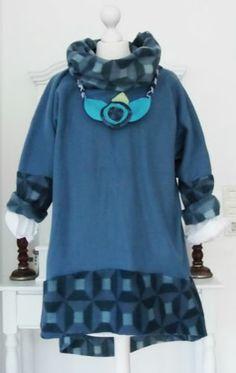 Tunika KLEID Dawanda Lagenlook oversize pullover Fleece kette asymetrisch 44 48 | eBay