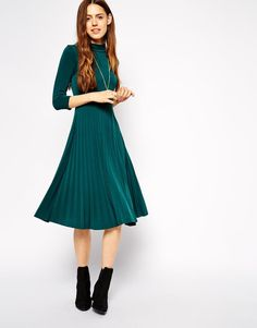 ASOS | ASOS Pleated Skater Dress with High Neck and 3/4 Sleeves at ASOS