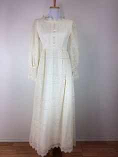Vintage 1960s Emma Domb Dress Wedding Lace Floral Cream Gown Size Small #EmmaDomb #EmpireWaist #Wedding
