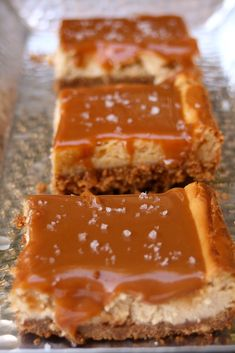 Diving in, full body, head first, woohoo! Fleur de Sel salted Dulce de Leche caramel cheesecake bars