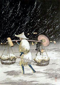 Peddler on a Snowy Night
