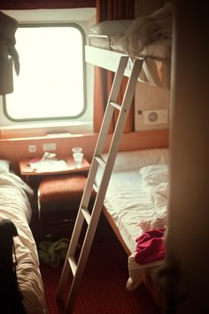 overnight train ride from Barcelona Spain to Paris France...my daughter and I bunked with two ladies we didnt know but came to know in the tiny space we had haha!  Great memories!