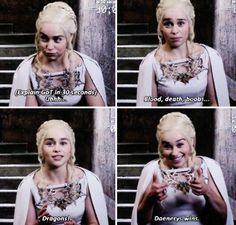 Emilia Clarke as Daenerys explaining Game of Thrones (GOT) in 30 sec Emilia Clarke, Khal Drogo, Daenerys Targaryen, Khaleesi, Jon Snow, The Mother Of Dragons, Game Of Thrones Meme, Got Memes, Bollywood