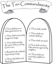 10 commandments color sheet …   Pinteres…