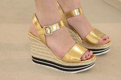 Gold platform sandals from Prada, spring summer from Wunderl in Austria. Jimmy Choo, Prada Spring, Spring Summer 2015, Austria, Platform, Wedges, Sandals, Metal, Silver
