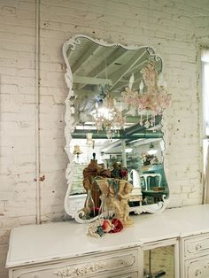 Vintage Painted Cottage Shabby White French MIrror
