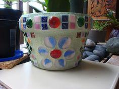Garden pot-glass tiles and globs!  :)