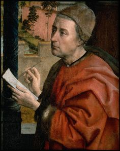 Rogier van der Weyden, Detail from St. Luke Drawing the Virgin (possibly a self portrait),1435-40, painted for the Guild of Saint Luke in Brussels, patrons to the painter. Now in the Boston Museum of Fine Arts. 608×768 pixels