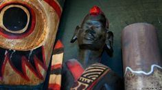 Transport London's Baker Street lost property office. African carvings-