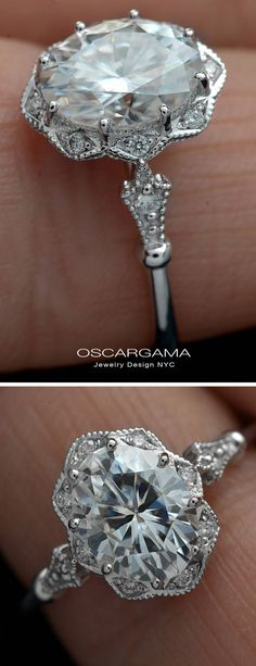 Oval Moissanite Engagement ring with accent diamonds 9x7 8x6 7x5 Forever One Charles & Colvard