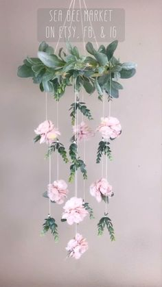 Hand made baby mobiles, nursery sets, and home decor. Paper Flowers Craft, Flower Crafts, Diy Flowers, Feather Crafts, Decoration Creche, Flower Mobile, Deco Floral, Floral Room, Art Floral