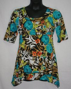 New Directions Floral Tunic Blouse Large Short Sleeve Shark Bite Women's Fashion