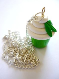 Mint muffin necklace cupcake charm polymer by AbsoKnittingLutely, £15.00