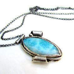 Larimar necklace handmade sterling silver by littlebugjewelry