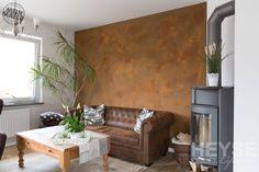 Betonoptik / Schalungsbeton / Rostoptik Creative Wall Painting, Creative Walls, Couch, Partner, Furniture, Home Decor, Shopping, Paintings, Condo Kitchen