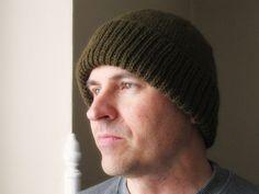 Mens brown hand knit cap