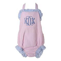 Pink and Blue Gingham Seersucker Swimsuit
