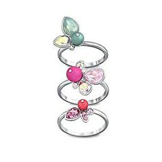 Swarovski Adorn 3 Multi Flower Rings 5055585