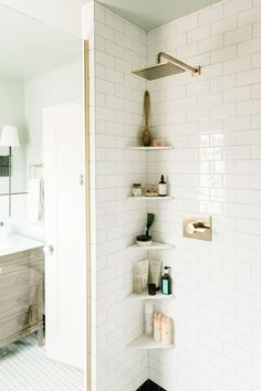 10 Best Simple Space Saving Bathroom Solutions Small bathroom storage Bathroom ideas small Bathroom shelves Storage ideas for small spaces Bathroom organization ideas Towel storage Upstairs Bathrooms, Bathroom Makeover, Home Remodeling, Small Bathroom Shelves, Bathroom Interior, Simple Bathroom, Shower Storage, Shower Shelves, Bathroom Decor
