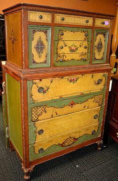 Antique inspiration for painted dresser.