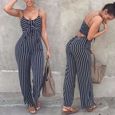 Hirgin Ladies Women Striped Bow Clubwear Playsuit Bodysuit Party Overall Jumpsuit Strappy Romper Sleeveless Long Trousers Newest Chiffon Pants, Fitted Jumpsuit, Striped Jumpsuit, Burgundy Jumpsuit, Floral Jumpsuit, Black Jumpsuit, Streetwear Mode, Streetwear Fashion, Clubbing Outfits