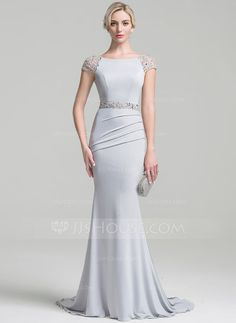 Trumpet/Mermaid Scoop Neck Sweep Train Ruffle Beading Sequins Zipper Up Sleeves Short Sleeves No Silver General Plus Jersey Height:5.7ft Bust:33in Waist:24in Hips:34in US 2 / UK 6 / EU 32 Mother of the Bride Dress