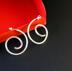 Large Contemporary Spiral Sterling Silver  Ear Hoops by StephMannJewellery on Etsy