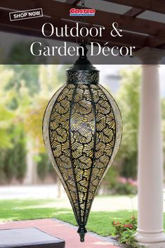 Weather-resistant and durable, this decorative accent light is eye catching in any space. Illuminating from within, it features a stamped metal leaf pattern and a gold interior. Shop now at Costco.com.