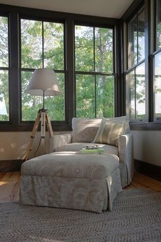 Lovely little reading corner with a view by Tracery Interiors. ** Could curl up here for hours.